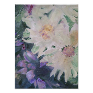 Flowers white and purple arrangement photo print