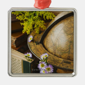 Flowers with antique globe and books Silver-Colored square decoration