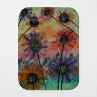 Flowers with birds burp cloth