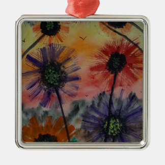 Flowers with birds christmas ornament