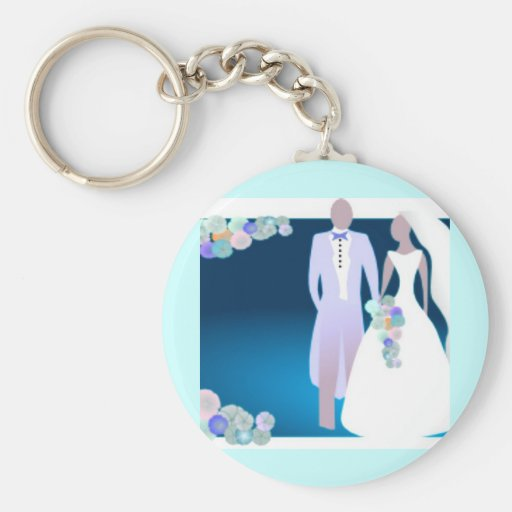 Flowers with Bride & Groom Key Chain