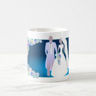 Flowers with Bride & Groom Coffee Mugs