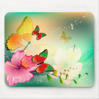 Flowers with butterfly mousepads
