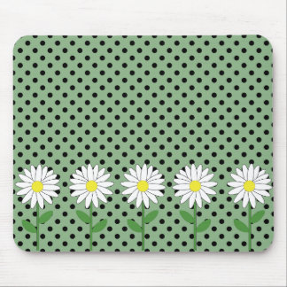 Flowers with Dark Mint Green and Black Polka Dots Mouse Pads