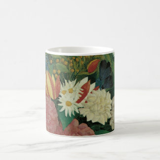 Flowers with Ivy by Henri Rousseau, Vintage Floral Basic White Mug