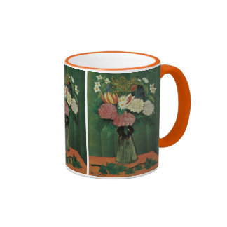 Flowers with Ivy by Henri Rousseau, Vintage Floral Ringer Mug