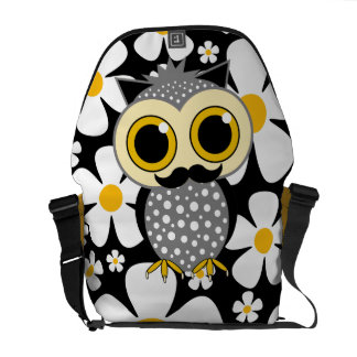 flowers with mustache owl messenger bags