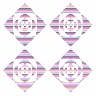 Flowers with Pastel Stripes. Pink, White. Cut Out