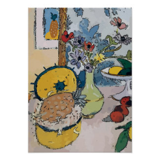 Flowers with Pineapple, after Matisse Poster