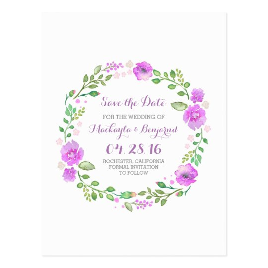 flowers wreath watercolor save the date postcards