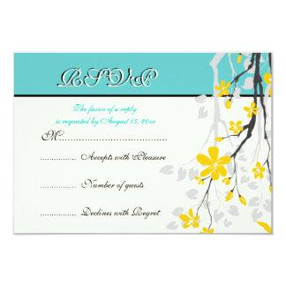 Flowers yellow turquoise wedding RSVP card 9 Cm X 13 Cm Invitation Card
