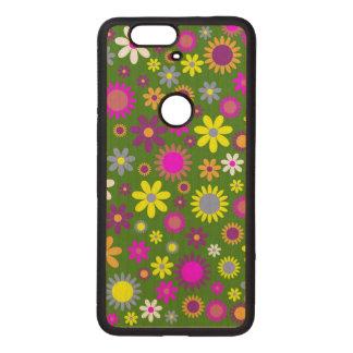 Flowery field pattern wood nexus 6P case