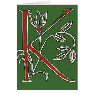 Flowery Letter k Greeting Cards