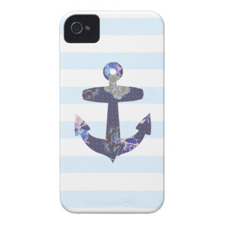 Flowery Nautical blue anchor iphone 4 case
