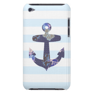 Flowery Nautical blue anchor ipod case