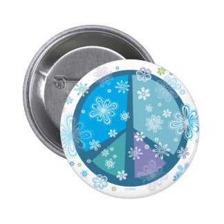 Flowery Peace sign 6 Cm Round Badge