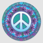 Flowery Peace Sign Classic Round Sticker