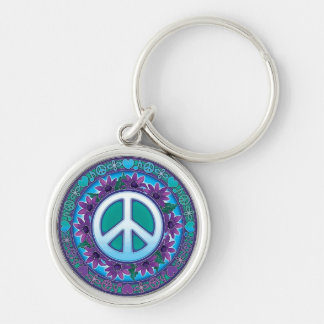 Flowery Peace Sign Keychain