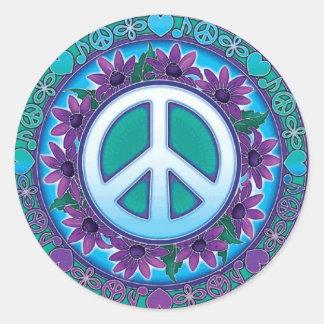 Flowery Peace Sign Round Sticker