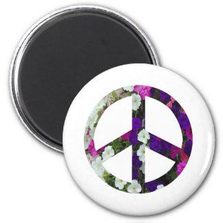 flowery peace symbol 6 cm round magnet