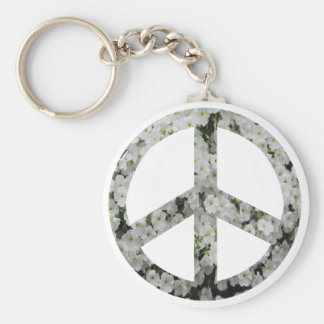 flowery peace symbol basic round button key ring