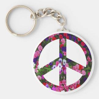 flowery peace symbol keychains