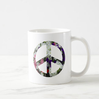 flowery peace symbol coffee mugs
