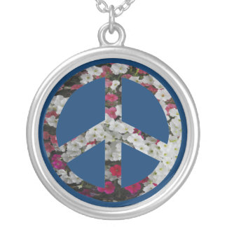 flowery peace symbol round pendant necklace