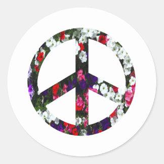 flowery peace symbol round stickers