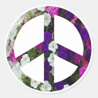 flowery peace symbol stickers