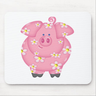 Flowery Piggie Mouse Pad