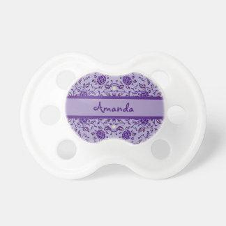 Flowery Purple Damask Personalized Pacifiers