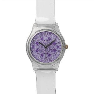 Flowery Purple Damask Wristwatches