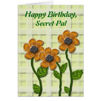 Flowery Secret Pal Birthday Card