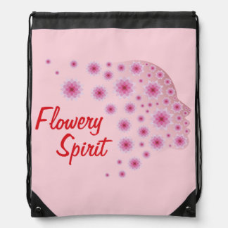 Flowery Spirit Drawstring Bag