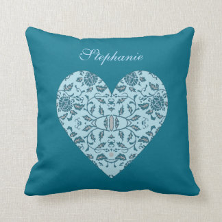 Flowery Teal Damask Throw Pillow