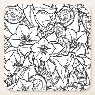 Flowery Zendoodle Square Paper Coaster