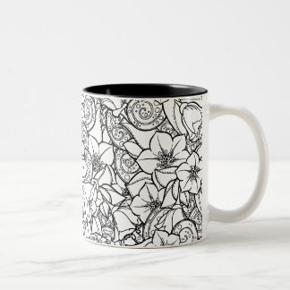 Flowery Zendoodle Two-Tone Coffee Mug