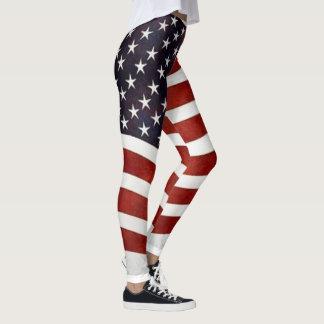 Flowing American Flag Leggings