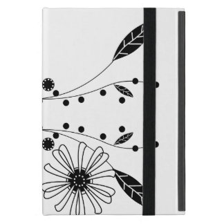 Flowing Black and White Floral Design iPad Mini Cover