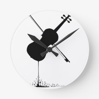 Flowing Fiddle Music Round Clock