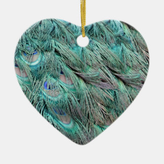 Flowing Green Feathers Hidden Blue Eyes Christmas Ornament