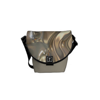 Flowing Liquid Gold and Silver Messenger Bag