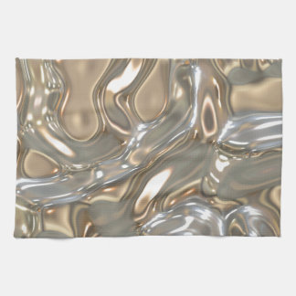Flowing Liquid Gold and Silver Tea Towel