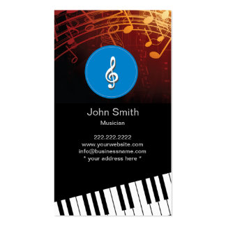 Flowing Music Symbols Piano Pianist Business Card