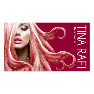 Flowing Tresses Hair Stylist blonde | raspberry Pack Of Standard Business Cards