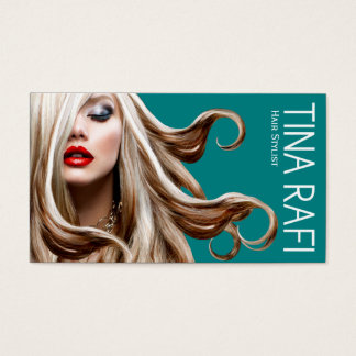 Flowing Tresses Hair Stylist blonde | teal Business Card