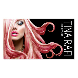 Flowing Tresses Hair Stylist pink hair | black Pack Of Standard Business Cards