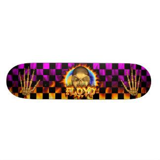 Floyd skull real fire and flames skateboard design