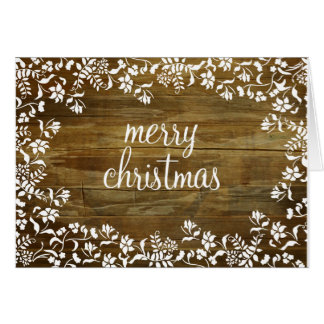 Fluer Merry Christmas on Reclaimed Wood Card
